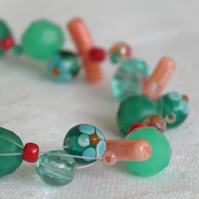 Teal and Coral bracelet