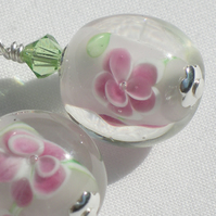 Glass lampwork bead earrings