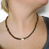 4mm Tigers Eye and Silver Cube Necklace