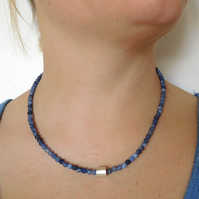 4mm sodalite beads with Sterling Silver