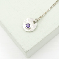 Tiny Hammered sterling silver Circle and Amethyst Pendant