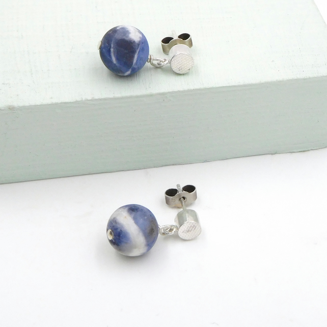 Textured Sterling Silver Gemstone Studs