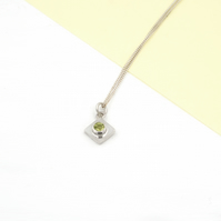 Handmade Tiny Square and Gemstone Necklace
