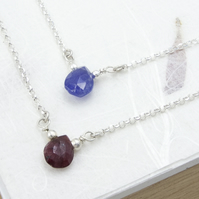 Tiny Briolette Pendant, July and December Birthstone