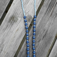 Long Tassel Necklace with Semi Precious Stone and Acrylic Beading
