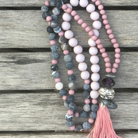 Long Tassel Pink and Grey Necklace with Semi Precious Stone and Acrylic Beading