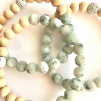 Natural Stone Beaded Bracelet - Tianshan Granite Beads - Essential Oil Bracelet