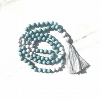 Semi-precious stone Beaded Tassel Necklace - Turquoise and White