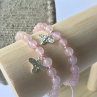 Semi precious pink beaded bracelet with silver bee charm - rose opal