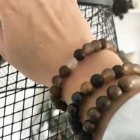 Cocoa Natural Stone Diffuser Beaded Bracelet