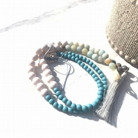 Carbis Bay - Semi-precious stone Amazonite Matt Turquoise Beaded Tassel Necklace