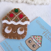 Gingerbread Home Felt Pin