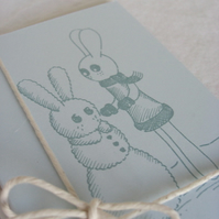 Snow Bunny Cards - Winter Gocco Set of 5 frosty coloured cards with envelopes