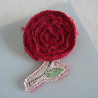 Swirly Rose Fabric Pin