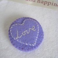 Lovehearts Candy Hearts Felt Pin - Lilac Love