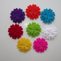 8 X Layering 100% Wool Felt Flowers (24 Parts) - Bright Colours