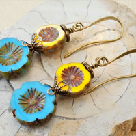 Blue and yellow Czech glass earrings with Picasso finish flowers.