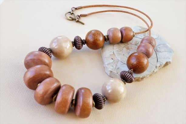 Wood and leather short chunky statement necklace.