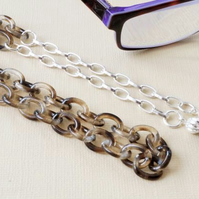 Smoky brown acrylic tortoiseshell glasses holder with silver chain