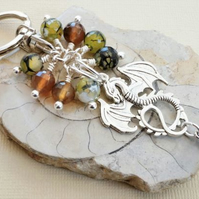 Silver dragon keyring with green and brown dragon vein agate.