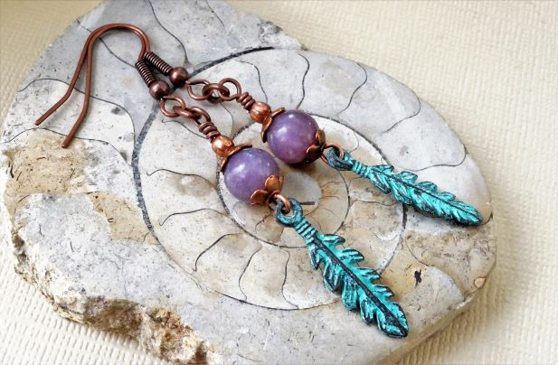 Purple gemstone earrings with lepidolite and verdigris leaf charms.