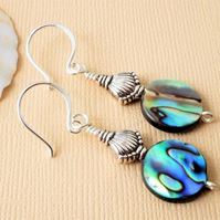 Abalone earrings with sterling silver artisan earwires