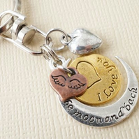 Love you to the moon and back keyring with heart charm