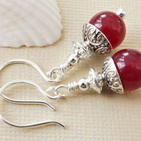 Raspberry red jade and silver gemstone earrings
