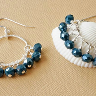 Denim blue crystal and silver hoop earrings