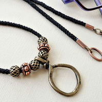 Black and bronze glasses chain with rustic knot pendant