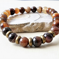 Unisex brown agate stretch bracelet with antique bronze