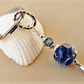 Midnight blue lampwork bead and Swarovski Denim Blue crystal keyring