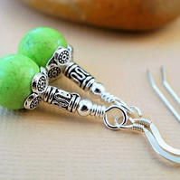 Lime green magnesite and silver earrings