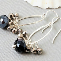 Long sparkly silver grey and black crystal cluster earrings