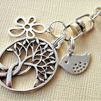 Tree of life, flower and bird clip on charm, decorative bag accessory
