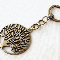 Antique bronze tree of life keyring with infinity link
