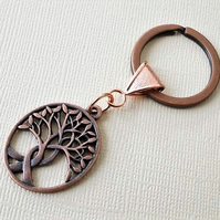Antique and bright copper tree of life keyring