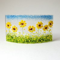 Fused Glass Mini Curve With Sunflowers