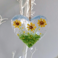 Fused Glass Heart With Sunflowers