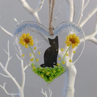 Fused Glass Hanging Heart With A Cat And Sunflowers Handmade