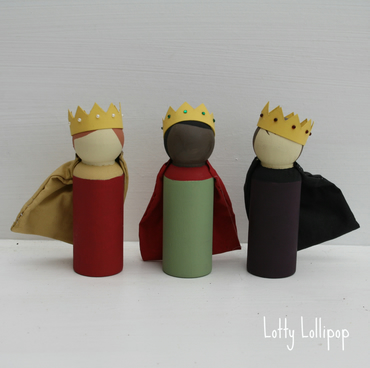 Three Kings Nativity Peg Doll Decorations