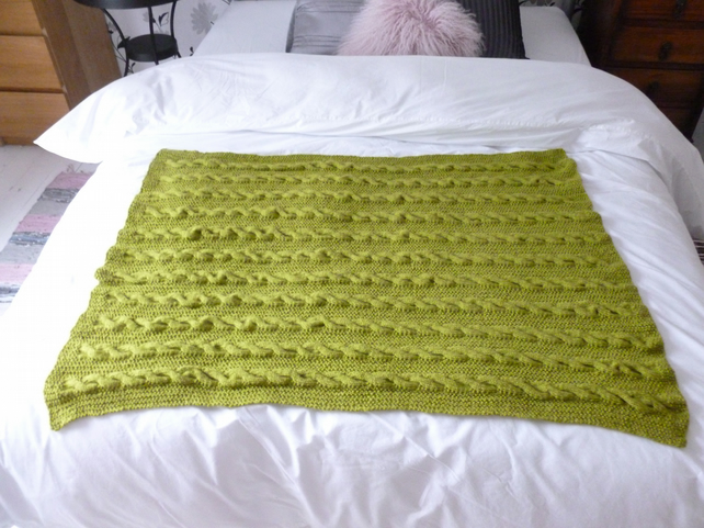 lime green knitted throw folksy. Black Bedroom Furniture Sets. Home Design Ideas