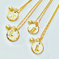 CUTE PORCELAIN AND REAL GOLD INITIAL PENDANTS