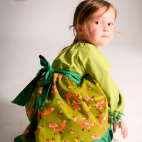 MR FOX Girls handmade peasant autumn dress with long sleeves in green