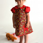 BABY DEER girls handmade dress with peter pan collar and puff sleeves