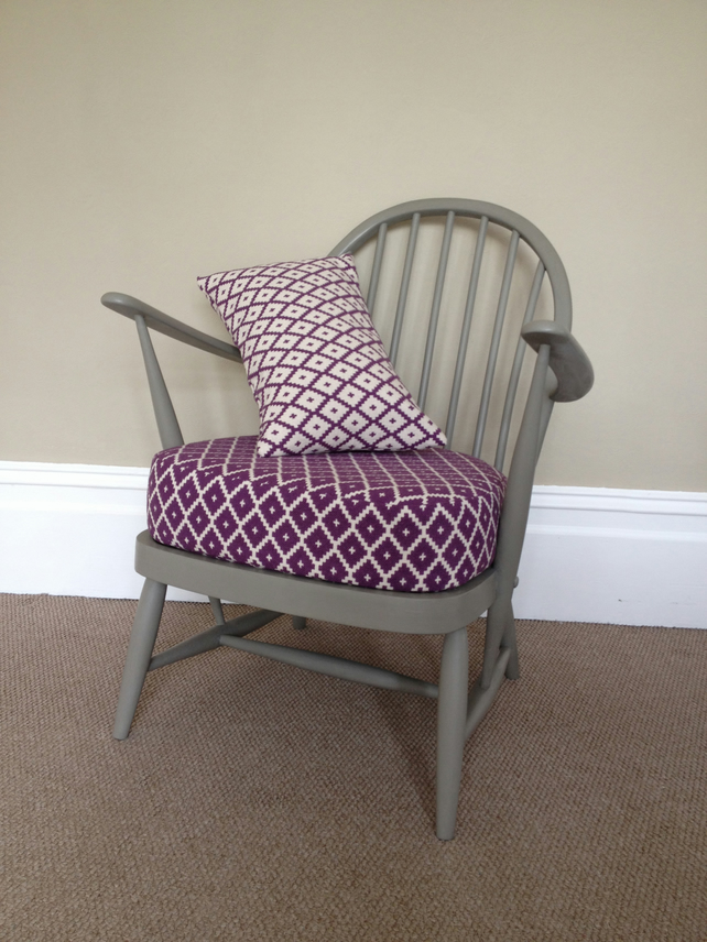 Vintage Ercol Chair Hand Painted Grey With Newl Folksy