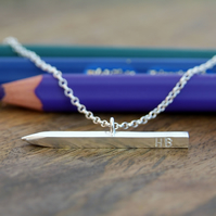 Silver Pencil Necklace. Gift for Artist, Teacher, Note-maker, Graduation Gift