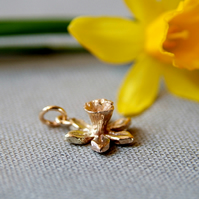 Gold Daffodil Flower Charm for Bracelet or Necklace - Spring Gift - Welsh Flower