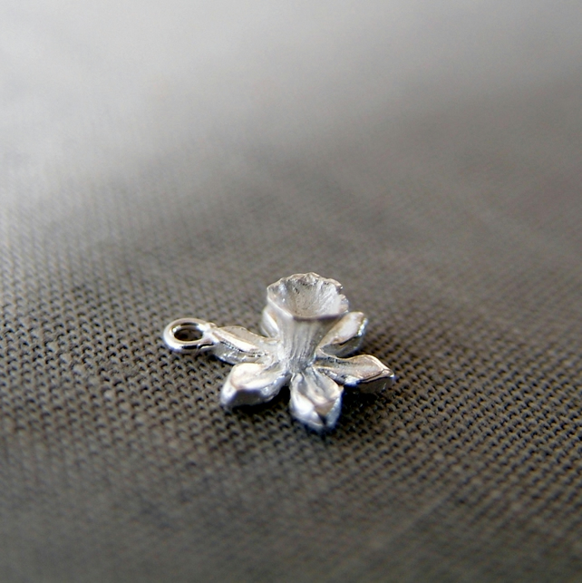Daffodil Charm, Sterling Silver Flower, CHARM ONLY
