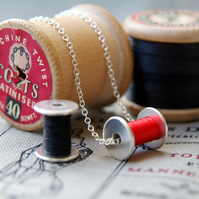 cotton reel necklace, silver bobbin, seamstress necklace  ANY COLOUR THREAD